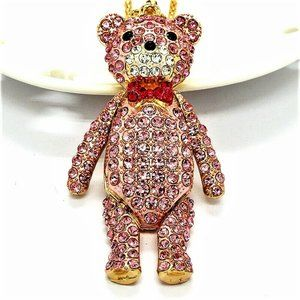 Jewelry - NEW Steiff Articulated Pink Crystal Bear Necklace